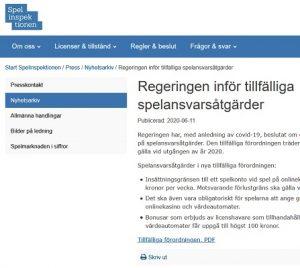 Alla nätcasinon i Sverige påverkade av nya tillfälliga bonusregler!